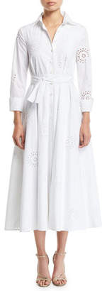 Carolina Herrera 3/4-Sleeve Eyelet Embroidered Midi Shirtdress