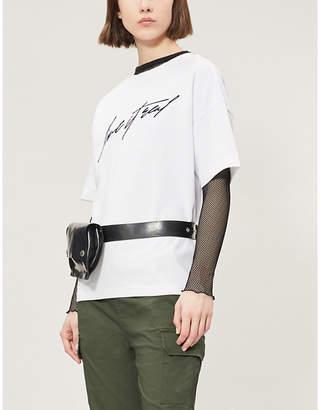 Izzue Slogan-embroidered cotton-blend T-shirt