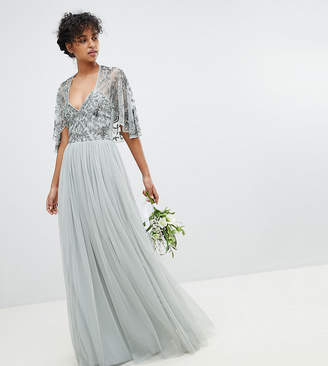 Maya Sequin Cape Tulle Skirt Maxi Bridesmaid Dress