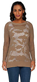 Liz Claiborne New York Floral Open Stitch Pullover Sweater