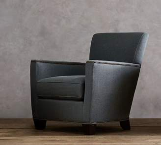 Pottery Barn Irving Square Arm Upholstered Armchair with Nailheads
