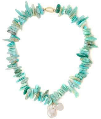 Timeless Pearly - Turquoise & Baroque Pearl Necklace - Womens - Green