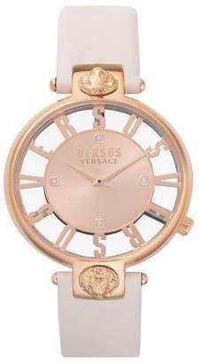 Versus By Versace Versus Women Kristenhof Beige Leather Strap Watch 34mm