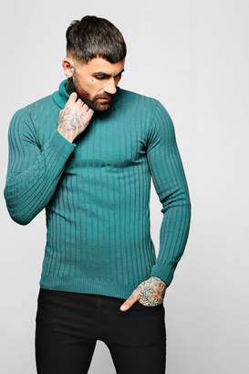 boohoo Muscle Fit Ribbed Long Sleeve Roll Neck Jumper