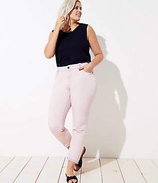 LOFT Plus The Crop Jeans in Chalk Pink