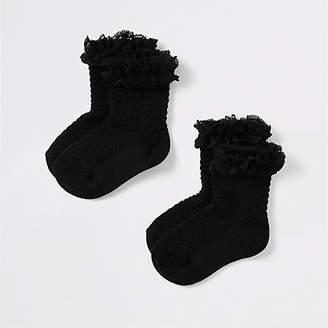 River Island Mini girls black lace socks multipack