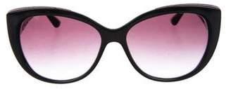 Bvlgari Leather-Trimmed Gradient Sunglasses