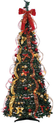 Sterling Tree Company 6Ft Pop Up Pre-Lit Green Decorated Pine Tree