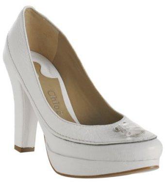 Chloe white leather 'Paddington' platform pumps