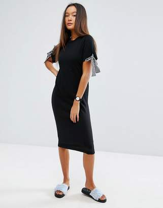 ASOS Knitted Midi Dress With Gingham Ties $51 thestylecure.com