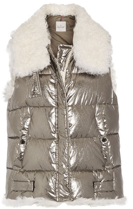 Moncler - Kerria Shearling-trimmed Metallic Quilted Cotton Down Vest - Silver $1,750 thestylecure.com