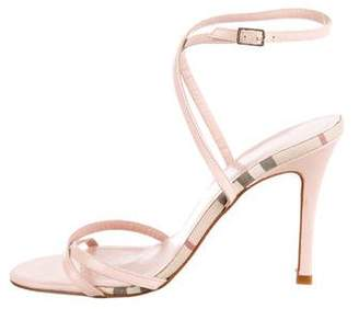 Burberry Leather Nova Check-Trimmed Sandals