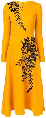 Oscar de la Renta long sleeve embroidered dress