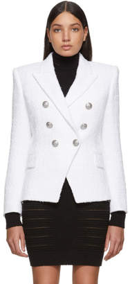 Balmain White Tweed 6 Button Blazer