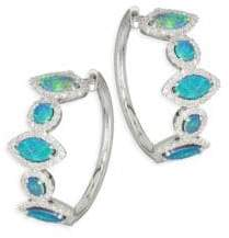 Meira T Pave Diamond, Opal& 14K White Gold Hoop Earrings