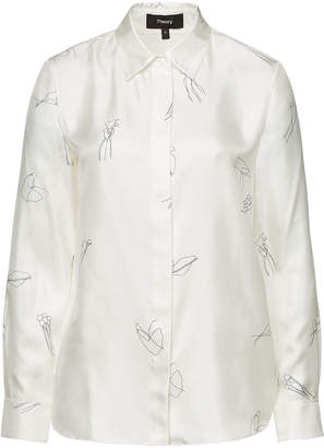 Theory Silk Twill Classic Straight Shirt with Abstract Print