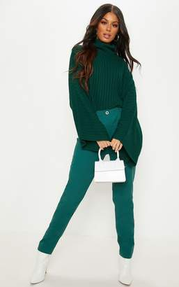 PrettyLittleThing Emerald Green Pleat Front Cigarette Trouser