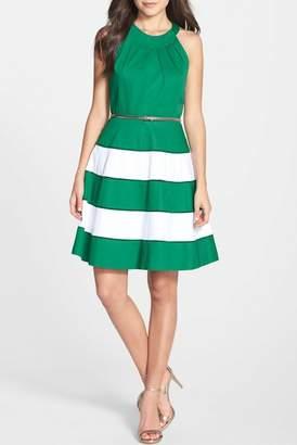 Eliza J Stripe Skirt Fit & Flare Dress