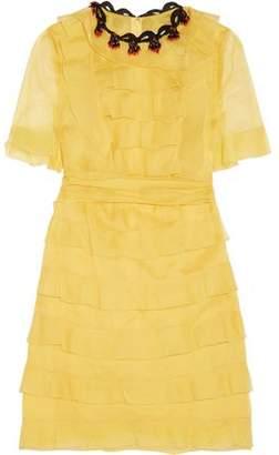 Valentino Tiered Embellished Silk-georgette Mini Dress