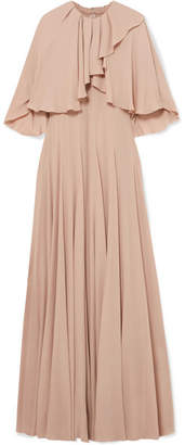 Valentino Ruffled Stretch-silk Chiffon Gown - Blush
