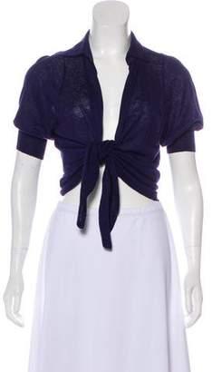 Loro Piana Short Sleeve Tie-Front Cardigan