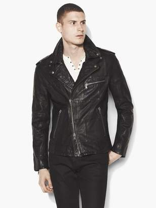 John Varvatos Patchwork Leather Biker Jacket