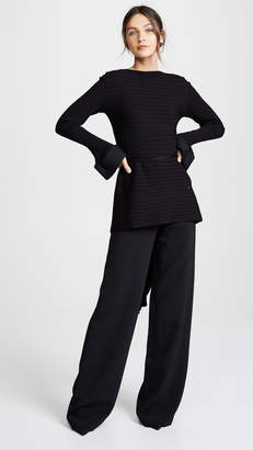 Esteban Cortazar Tie Back Peplum Sweater