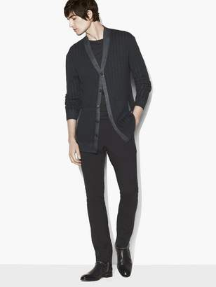 John Varvatos Merino Wool Cable-Knit Cardigan