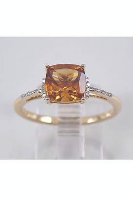 Margolin & Co Cushion-Cut Citrine and Diamond Engagement Ring 14K Yellow Gold Size 7 November Gemstone