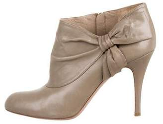 Valentino Leather Bow Booties
