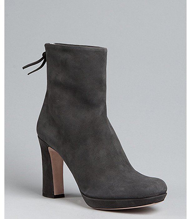 Smoke Suede Back Zip Ankle Boots
