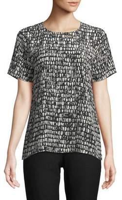 Eileen Fisher Short-Sleeve Black-Bone-Print Top, Petite