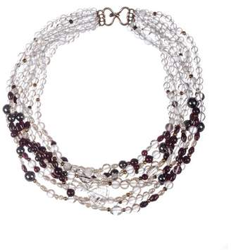 Vintage Rock Crystal Garnet Hematite and Freshwater Pearl Bead Necklace