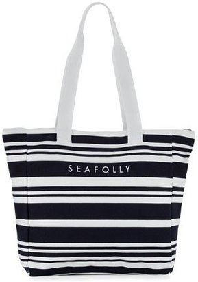 Seafolly Fringe Benefits Striped Beach Tote Bag & Towel, Blue/White $82 thestylecure.com