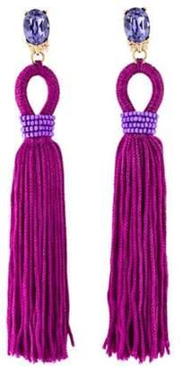 Oscar de la Renta Long Crystal Loop Tassel Clip-On Earrings gold Oscar de la Renta Long Crystal Loop Tassel Clip-On Earrings