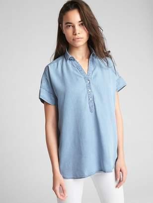 Gap Short Sleeve Popover Shirt in TENCEL