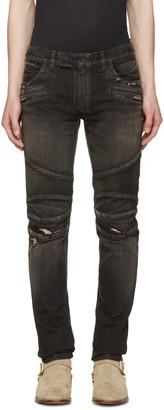 Balmain Black Distressed Biker Rib Jeans $1,375 thestylecure.com
