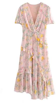 Goodnight Macaroon 'Cate' Frilly Floral Print Maxi Dress