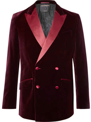 Favourbrook Burgundy Slim-Fit Double-Breasted Satin-Trimmed Cotton-Velvet Tuxedo Jacket