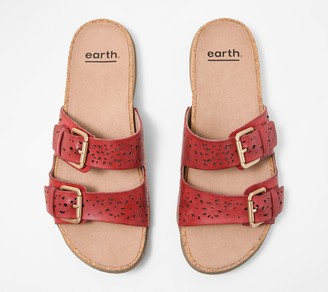 913446bb5bf048 Earth Perforated Leather Slide Sandals- Sand Antigua