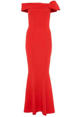 Quiz Red Crepe Bardot Side Bow Maxi Dress