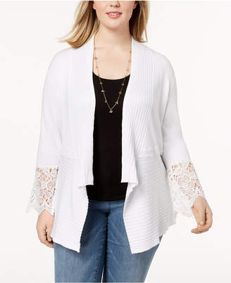 INC International Concepts I.n.c. Plus Size Lace-Trim Cardigan, Created for Macy's