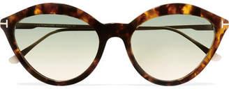 Tom Ford Cat-eye Tortoiseshell Acetate And Gold-tone Sunglasses