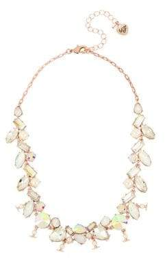 Betsey Johnson Flower Crystal Mixed Stone Collar Necklace
