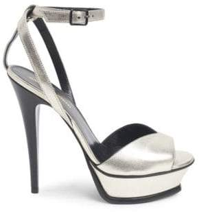 Saint Laurent Tribute Lips Leather High Heel Sandals