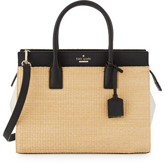 Kate Spade Kate Spade New York Cameron Street Candace Straw Satchel Bag, Black/Natural
