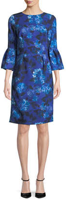 David Meister Jewel-Neck Bell-Sleeve Floral-Print Crepe Sheath Cocktail Dress