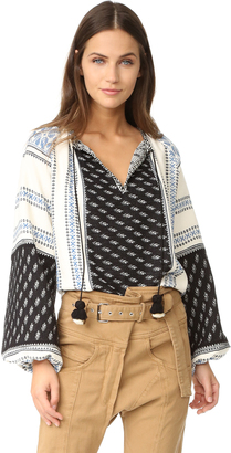 Sea Mixed Yarn Dyed Long Sleeve Top $325 thestylecure.com