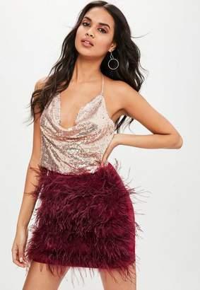 Missguided Burgundy Feather Mini Skirt