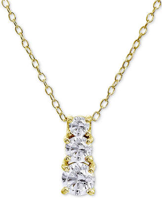"Giani Bernini Cubic Zirconia Graduated 18"" Pendant Necklace in Sterling Silver, Created for Macy's"